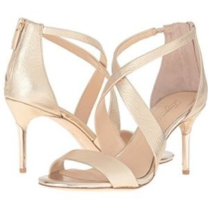Vince Camuto Gold Heels NEW IN BOX